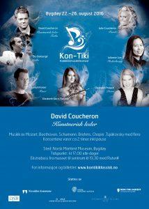Plakat i blått med informasjon om festivalen 2016