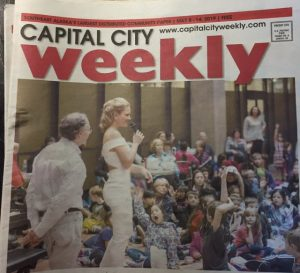 "Facsimile ""Capital City"" (Alaska) where a picture of Julie Coucheron characterizes the whole front page."