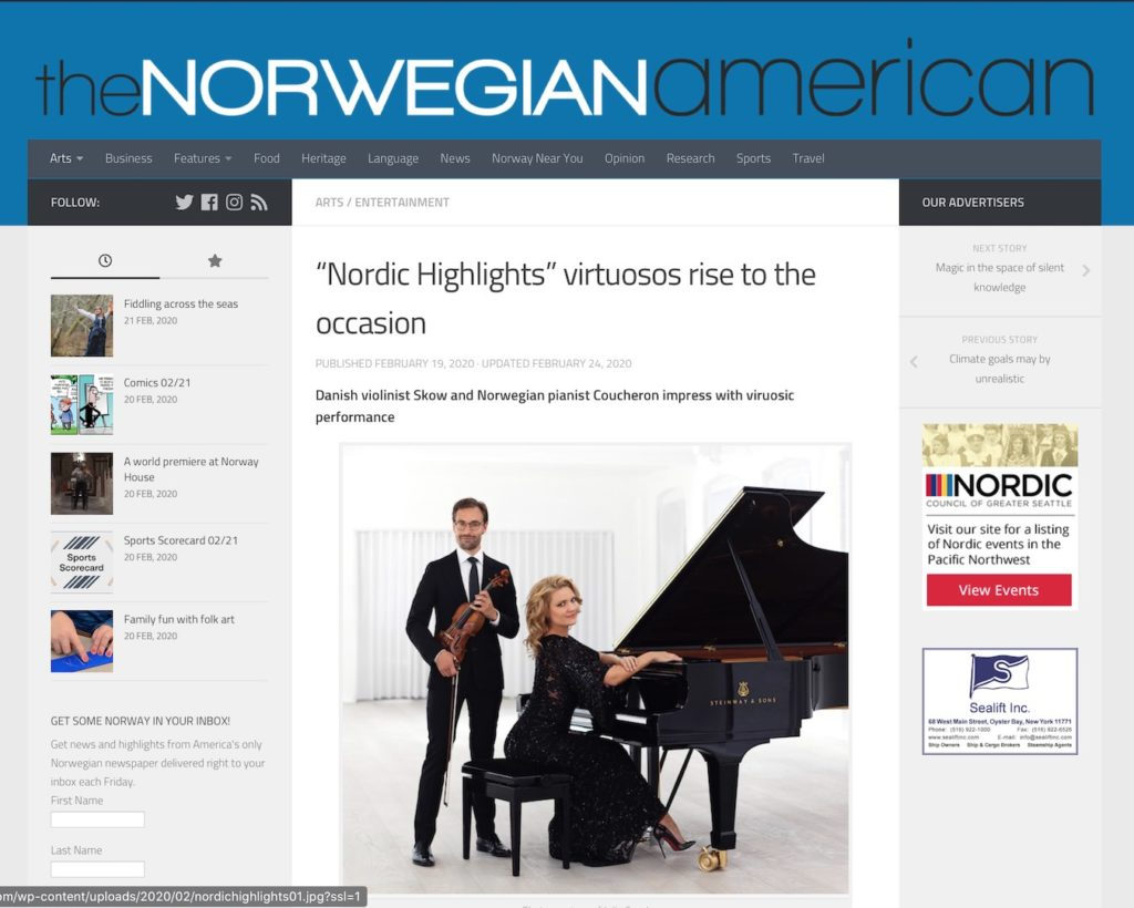 From https://www.norwegianamerican.com/nordic-highlights-virtuosos-rise-to-the-occasion/ with image of Danish the violinist Skow and Norwegian pianist Coucheron