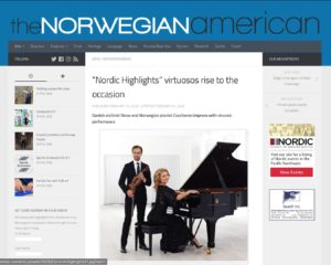 Faksimile fra https://www.norwegianamerican.com/nordic-highlights-virtuosos-rise-to-the-occasion/ with image of Danish the violinist Skow and Norwegian pianist Coucheron